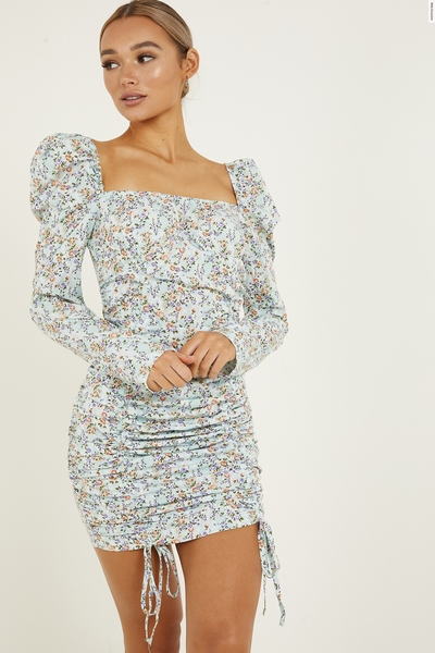 Mint Floral Puff Sleeve Bodycon Dress